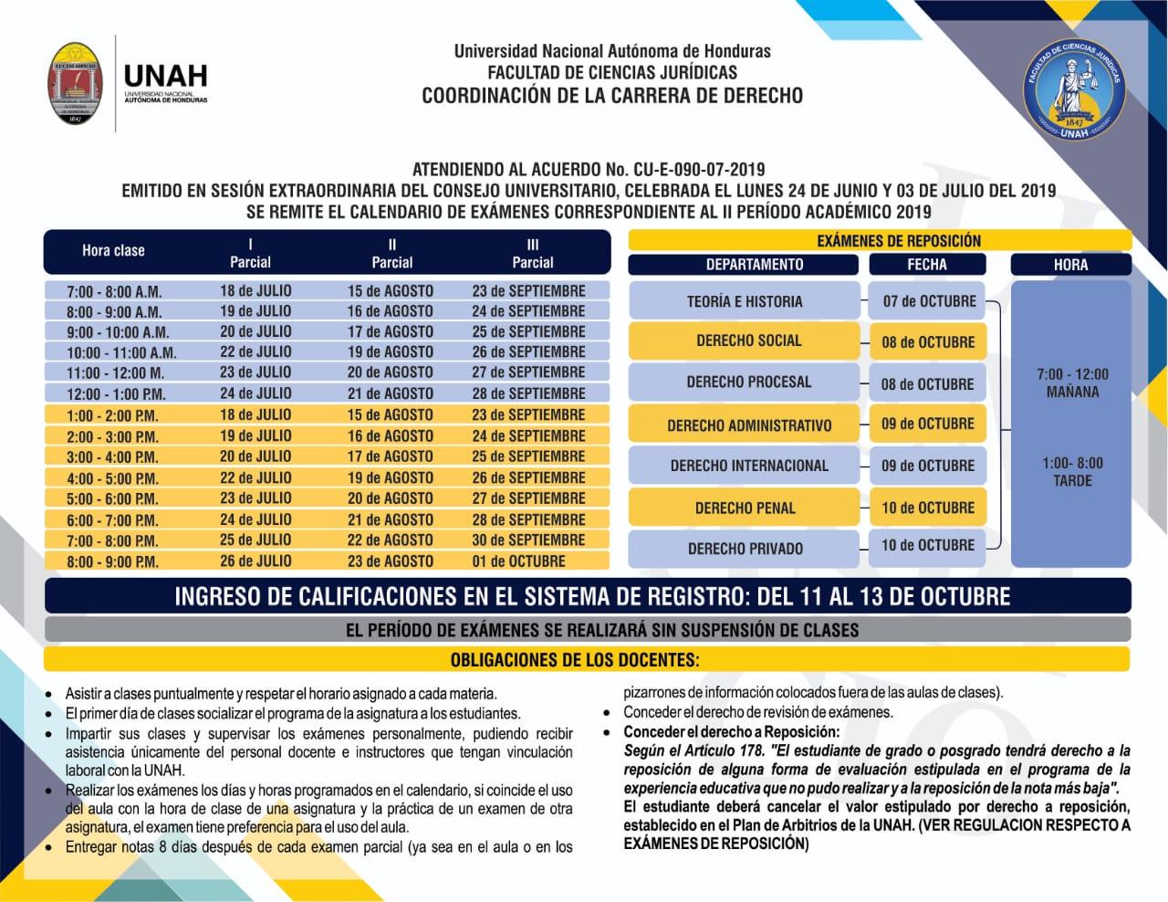 Calendario De Examenes.Calendario De Examenes Facultad De Ciencias Juridicas